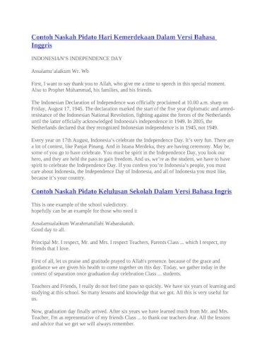 Contoh Naskah Pidato Hari Kemerdekaan Dalam Versi Bahasa Inggris Docx Document