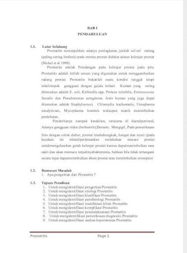 makalah prostatitis pdf Prostatitis és fájdalom a bal oldalon
