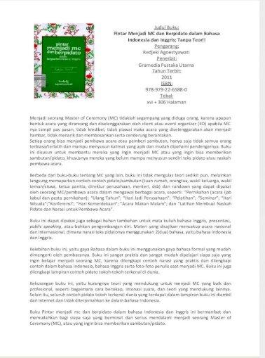 Resensi Buku Pintar Menjadi Mc Pdf Document