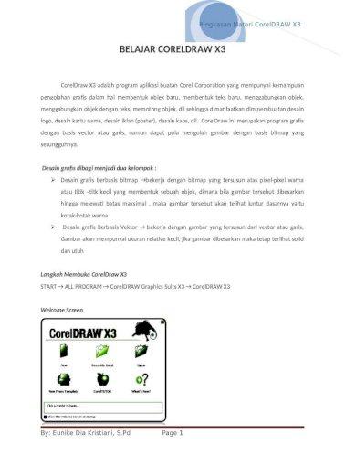 Ringkasan Materi Coreldraw X3 Tiktargads Web Viewcoreldraw X3 Adalah Program Aplikasi Buatan Corel Corporation Yang Mempunyai Kemampuan Pengolahan Grafis Dalam Hal Membentuk Objek Docx Document
