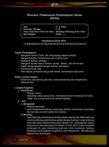 4 5 Rpph Pengaman Sentra Area Dll Rev Jan 15 Kementerian Pendidikan Dan Kebudayaan Republik Indonesia Pdf Document