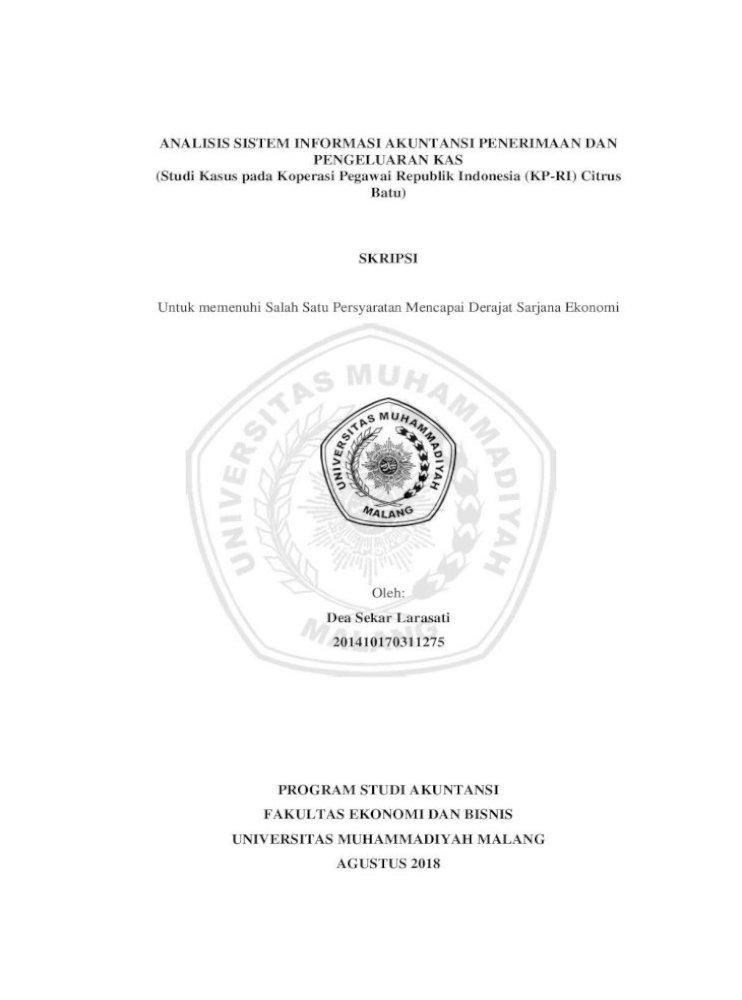 Skripsi Evaluasi Sistem Informasi Akuntansi Penerimaan Kas
