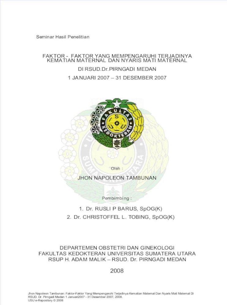 Faktor Kematian Maternal Pdf Pdf Document