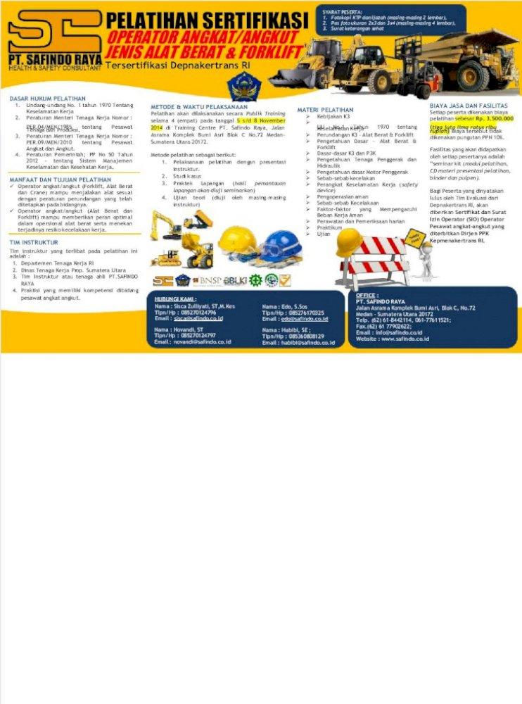 Publik Training Operator Alat Berat Forklift Tersertifikasi Depnakertrans Ri Pdf Document
