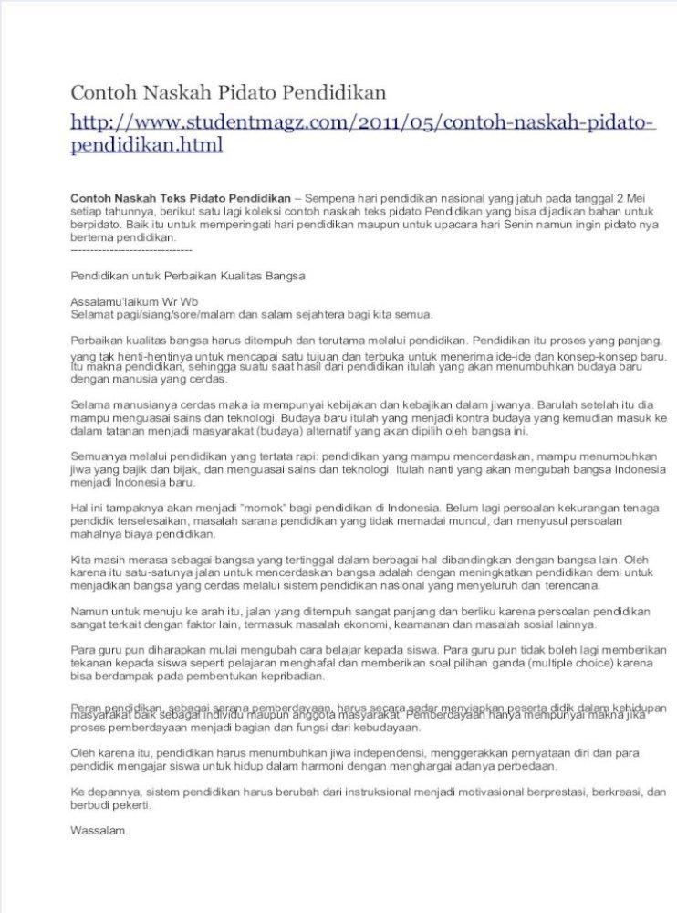 Teks Pidato Hari Pendidikan Nasional 2 Mei Untuk Anak Sd ...
