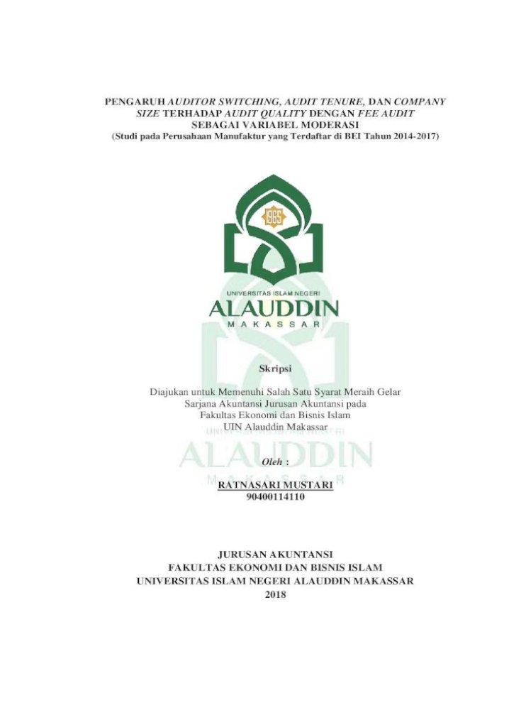 Pengaruh Auditor Switching Audit Tenure Dan Pengaruh Auditor Switching Audit Tenure Dan Company Pdf Document