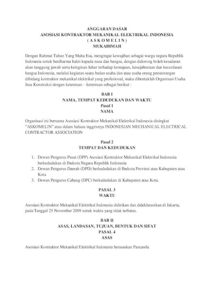 Anggaran Dasar Asosiasi Kontraktor Bangsa Indonesia Melalui Kegiatan Suatu Badan Usaha Dan Atau Usaha Orang Perseorangan Dibidang Kontraktor Mekanikal Elektrikal Yang Profesional Pdf Document