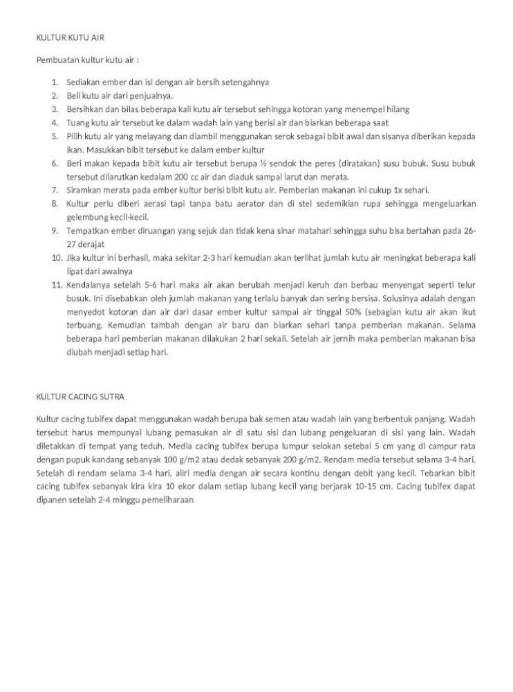 Kultur Pakan Cupang Doc Document