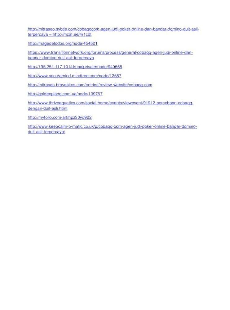 Cobaqq Com Agen Judi Poker Online Dan Bandar Domino Duit Asli Terpercaya Pdf Document
