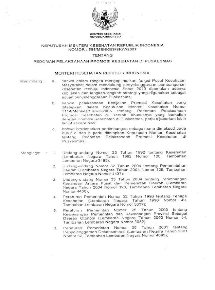 Pedoman Pelaksanaan Promosi Kesehatan Di Puskesmas Pdf Document