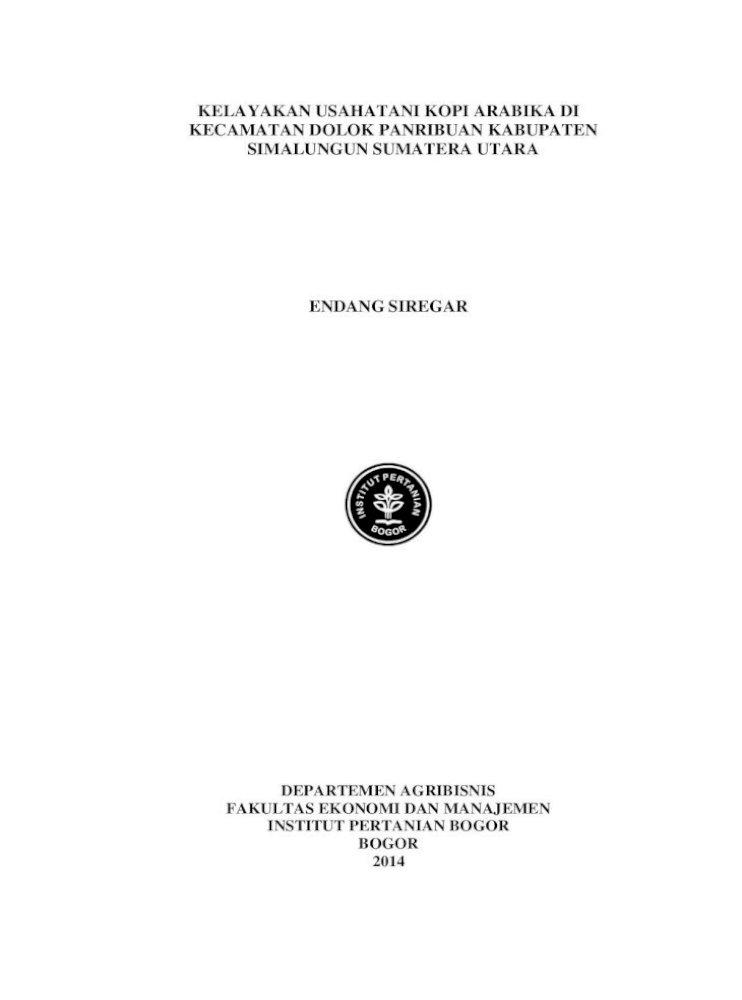 Kelayakan Usahatani Kopi Arabika Di Kecamatan Usahatani Kopi Arabika Di Kecamatan Dolok Panribuan Pdf Document