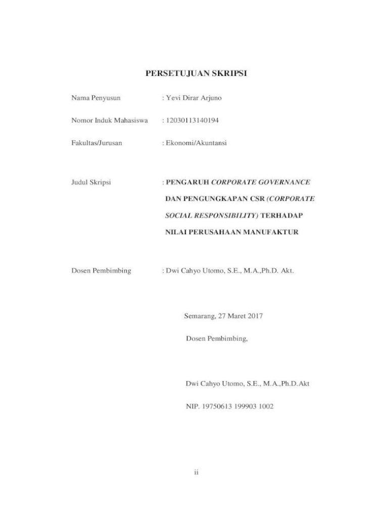 Pengaruh Corporate Governance Dan Pengungkapan Csr Terhadap Nilai Perusahaan Manufaktur Di Indonesia Pdf Document