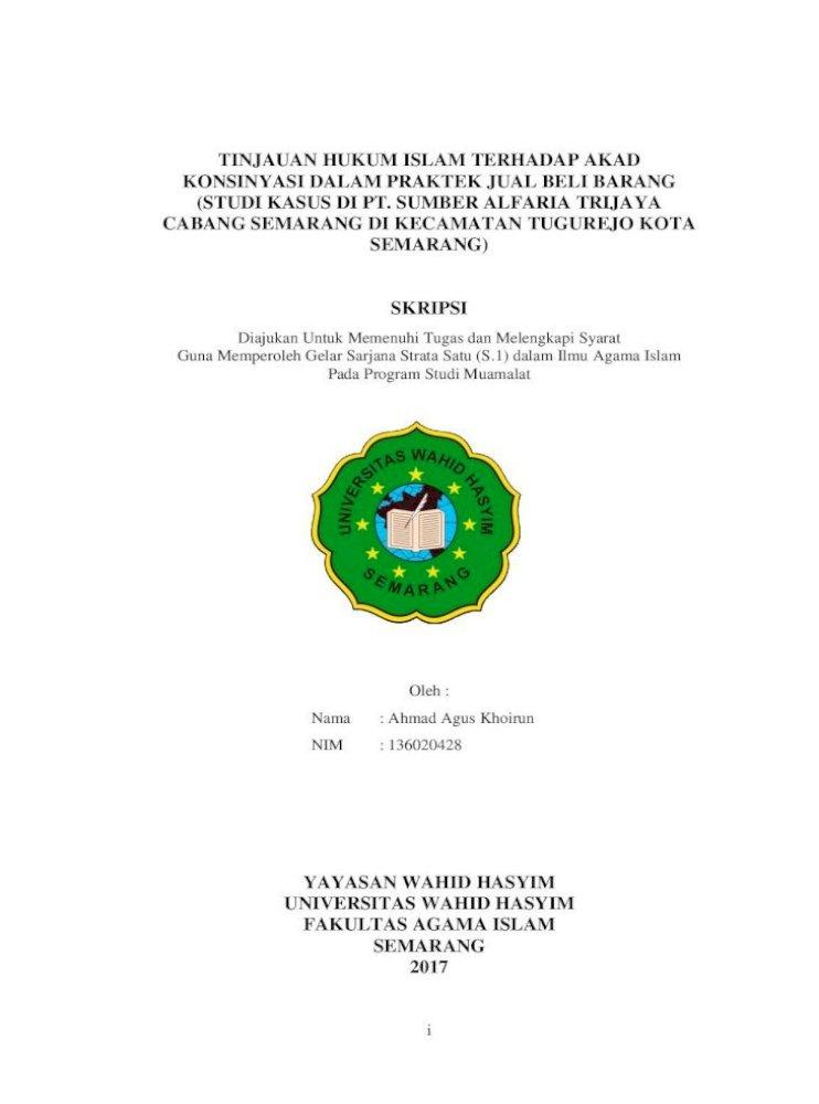Tinjauan Hukum Islam Terhadap Akad Konsinyasi Pertama Tentang Akad Jual Beli Barang Dengan Sistem Konsinyasi Pdf Document