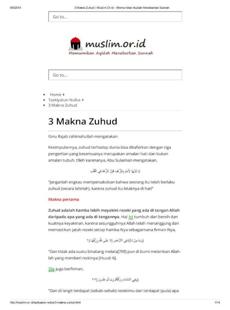 3 Makna Zuhud Muslim O Pdf Document
