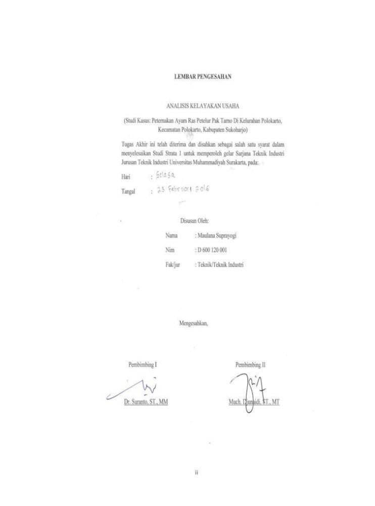 Laporan Tugas Akhir Analisis Kelayakan Usaha Studi Depan Judul Pengesahan Abstrak Pdf I Laporan Pdf Document