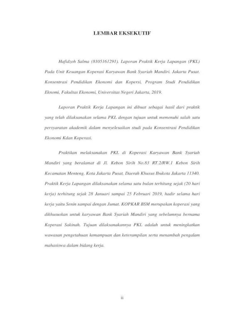 Laporan Praktik Kerja Lapangan Pada Unit Salma 8105161291 Pdf Laporan Praktik Kerja Lapangan Pkl Pdf Document