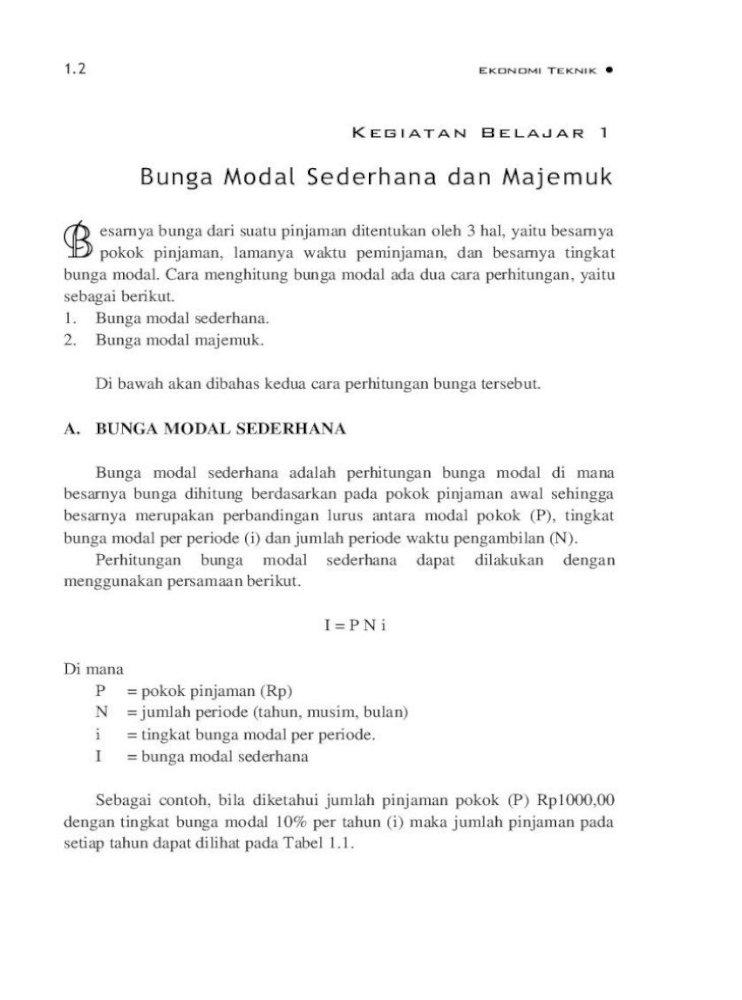 Bunga Modal A Perbedaan Cara Perhitungan Bunga Sederhana Dan Majemuk Dari Contoh Soal Di Atas Pengaruh Bunga Modal Majemuk Nilai P Dan F Pada Pembayaran Tunggal Pdf Document