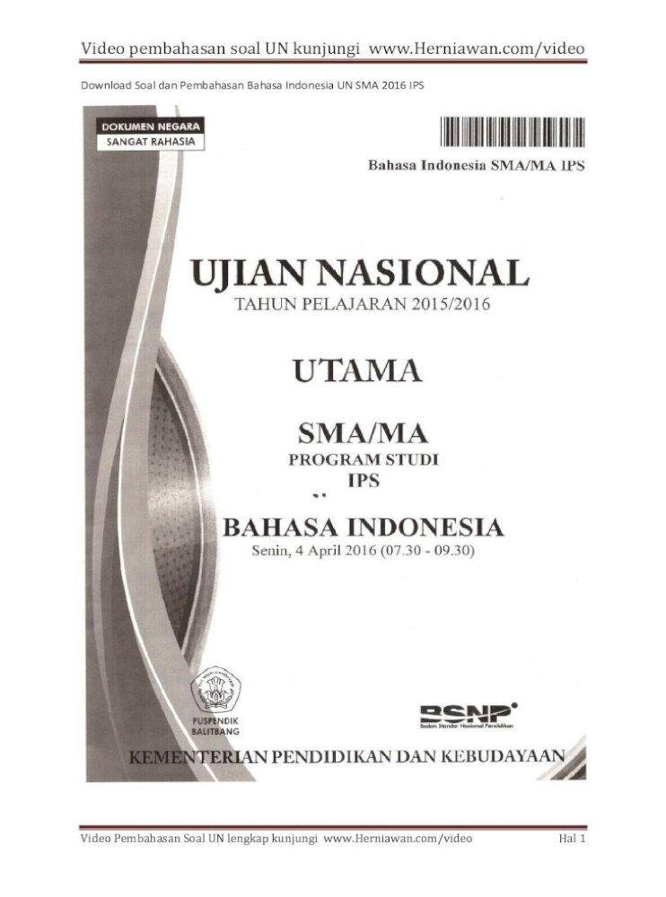 Soal Un Bahasa Indonesia 2016 Sma Python