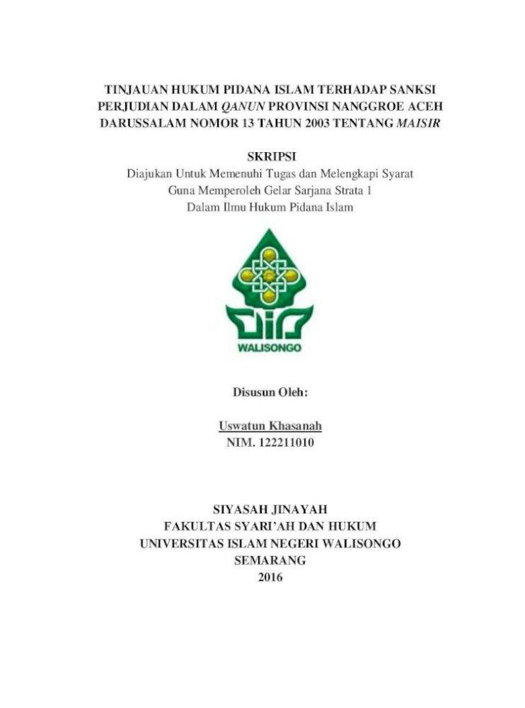 Tinjauan Hukum Pidana Islam Terhadap Sanksi 2017 08 13 Semoga Apa Yang Tertulis Dalam Skripsi Pdf Document