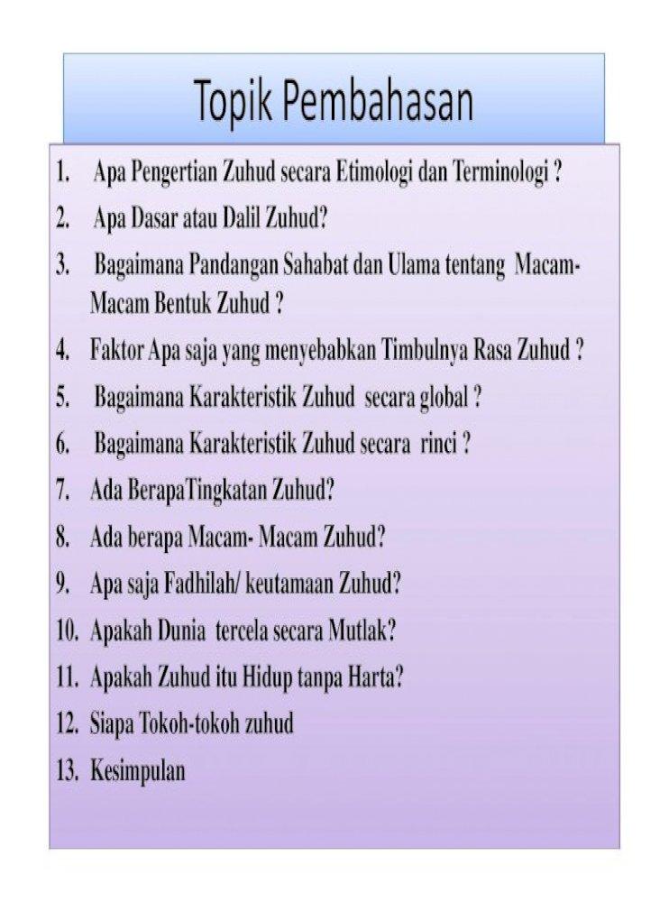 Topikpembahasan Apa Pengertian Zuhud Secara Etimologi Dan Terminologi 2 Apa Dasar Atau Dalil Pdf Document