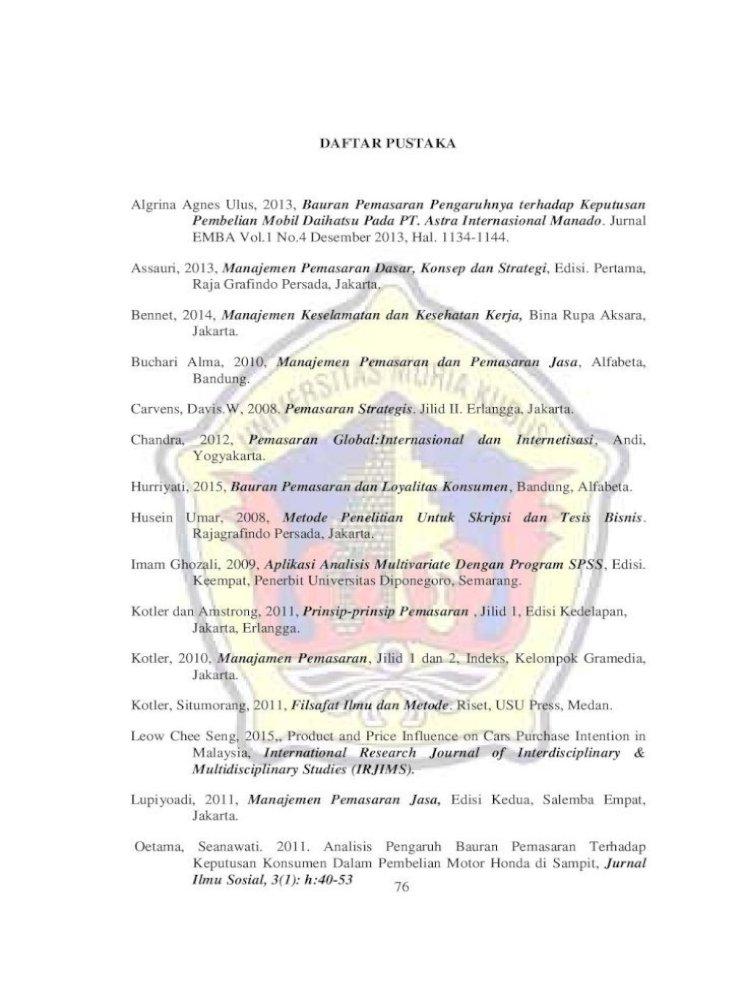 Daftar Pustaka Terhadap Keputusan Pembelian Motor Yamaha Pada Pt Hasjrat Abadi Manado 1 Jurnal Pdf Document