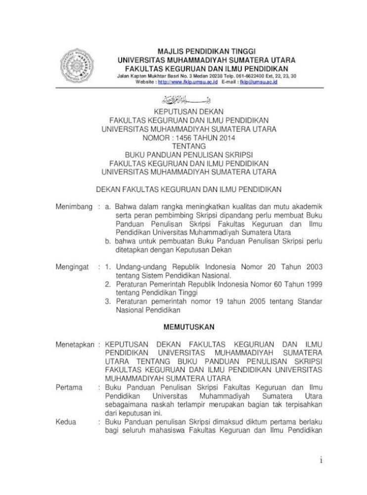 Majlis Pendidikan Tinggi Universitas Fkip Umsu Ac Id Wp Content Uploads 2016 09 Pedoman Penulisan Pdf Document