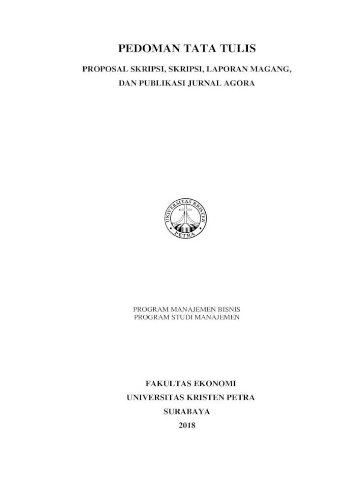 Pedoman Tata Tulis Tata Tulis Proposal Skripsi Skripsi Laporan