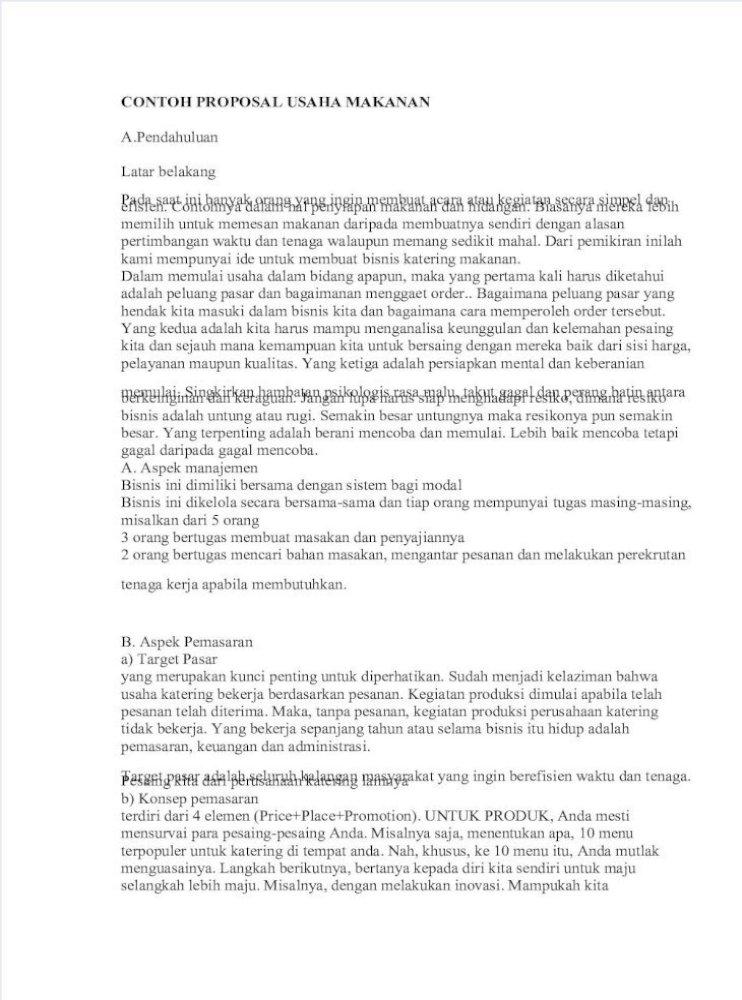 Contoh Proposal Bisnis Makanan Pdf Pigura