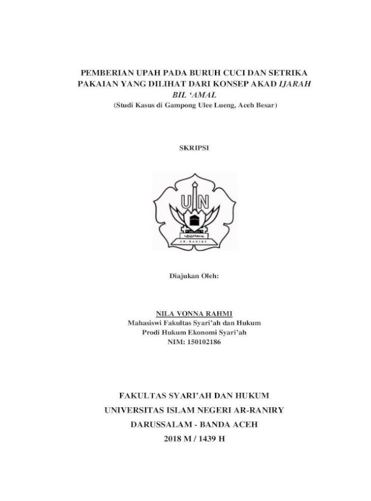 Pemberian Upah Pada Buruh Cuci Dan Tinjauan Hukum Islam Terhadap Praktik Pengupahan Tersebut Jenis Pdf Document