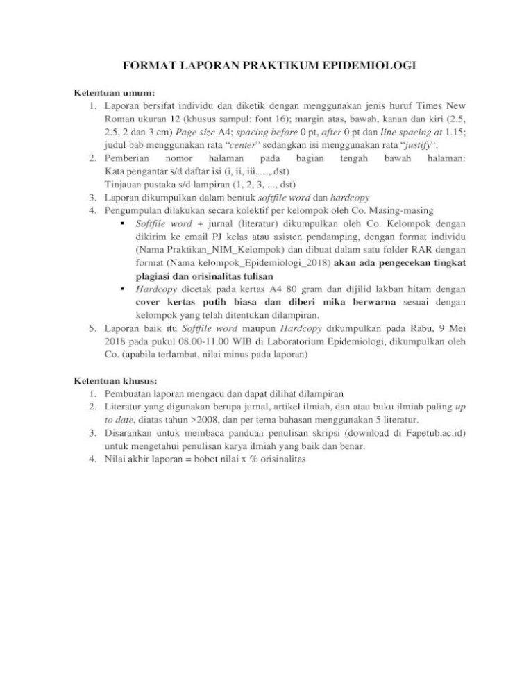 Format Laporan Praktikum Epidemiologi Bab Iii Hasil Dan Pembahasan Bab Iv Penutup Daftar Pustaka Pdf Document