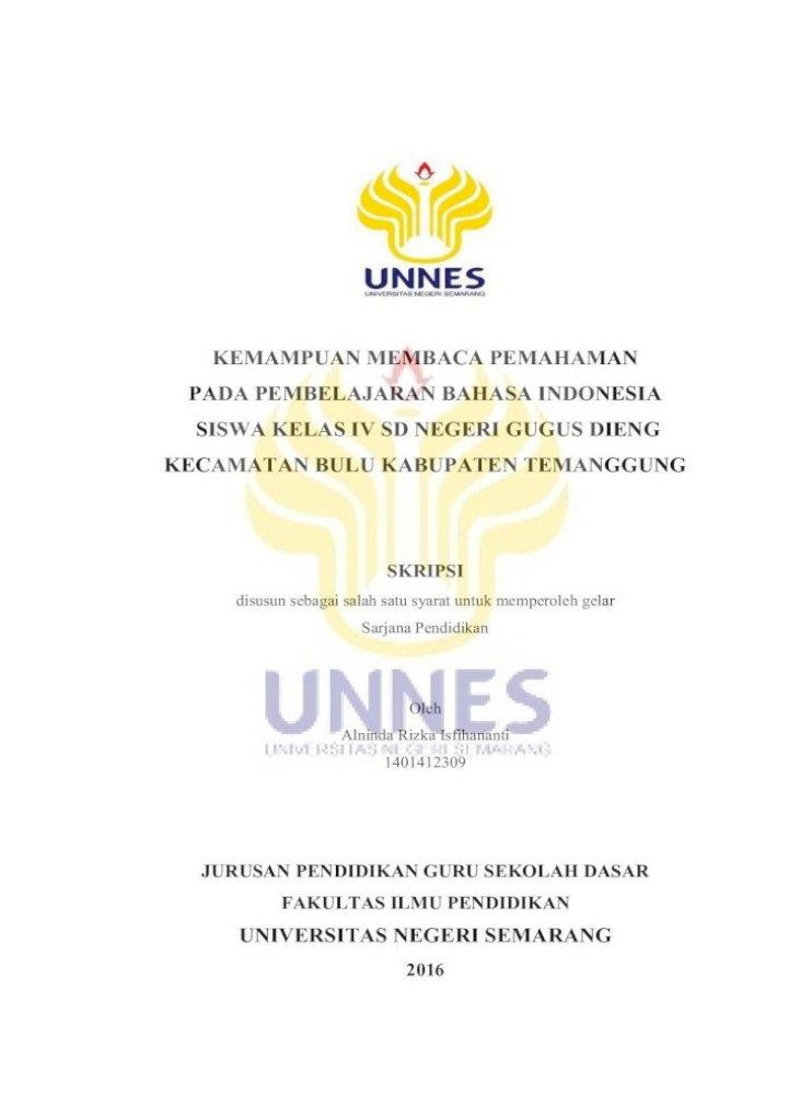 Kemampuan Membaca Pemahaman Pada Pembelajaran Bahasa Lib Unnes Ac Id 28331 1 Dan Kemampuan Pdf Document