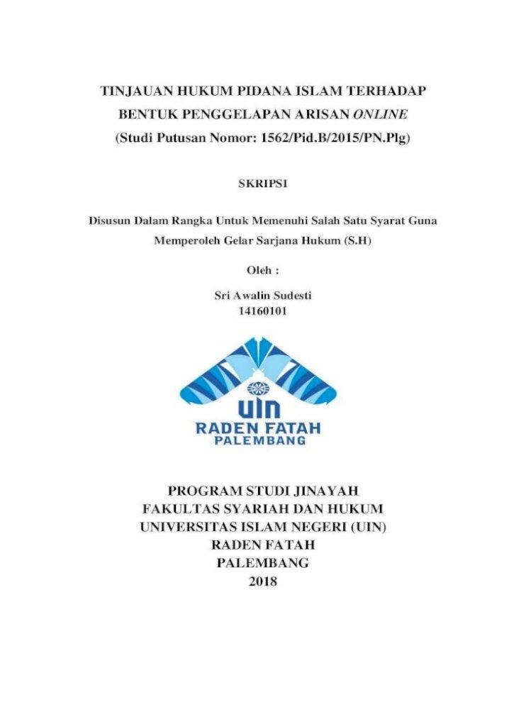 Tinjauan Hukum Pidana Islam Terhadap Bentuk Awalin Sudesti 1416101 Tinjauan Hukum Pidana Pdf Document