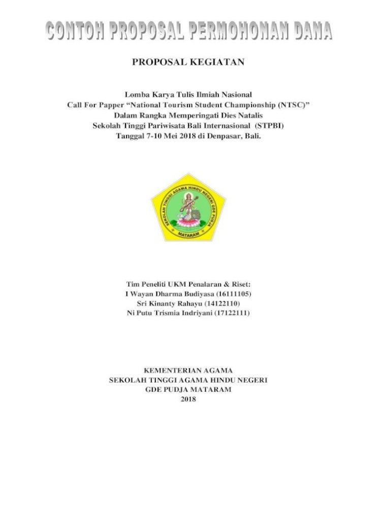 Contoh Proposal Karya Tulis Ilmiah Sketsa