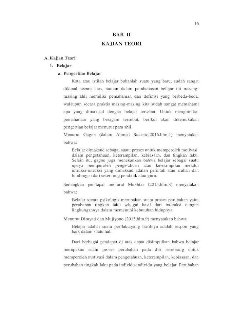 Bab Ii Kajian Teori Ii Pdf Pdfbelajar Secara Psikologis Merupakan Suatu Proses Perubahan Yaitu Pdf Document