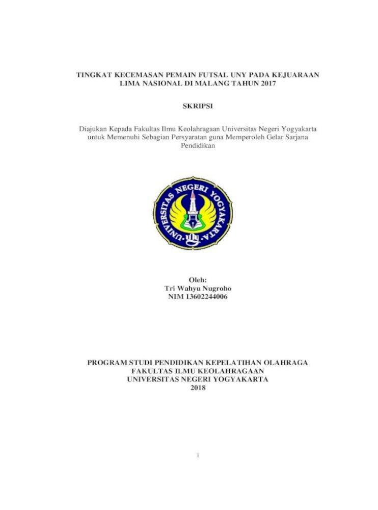 Tingkat Kecemasan Pemain Futsal Uny Pada Kecemasan Pemain Futsal Uny Pada Kejuaraan Lima Nasional Di Pdf Document