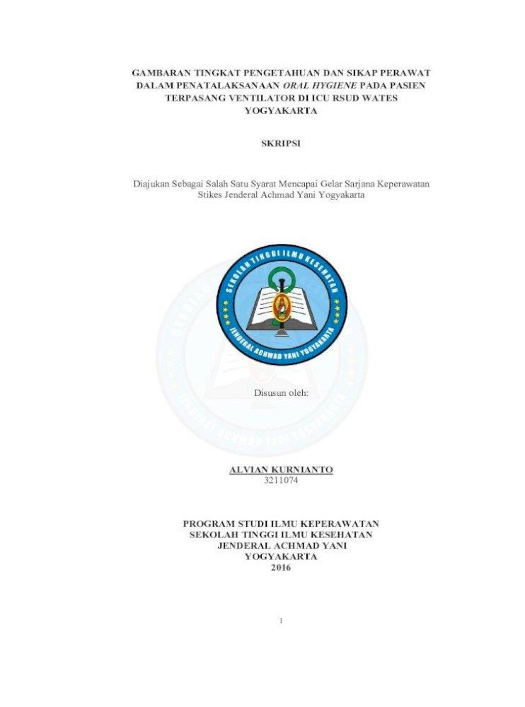 Gambaran Tingkat Pengetahuan Dan Sikap Perawat Kurnianto 3211074 I I Gambaran Tingkat Pdf Document