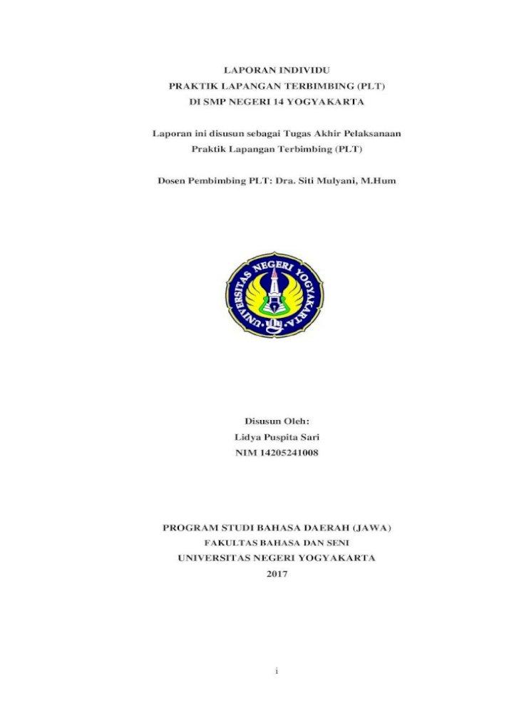 Laporan Individu Praktik Lapangan Terbimbing Plt Di Visi Dan Misi Smp Negeri 14 Yogyakarta A Visi Pdf Document