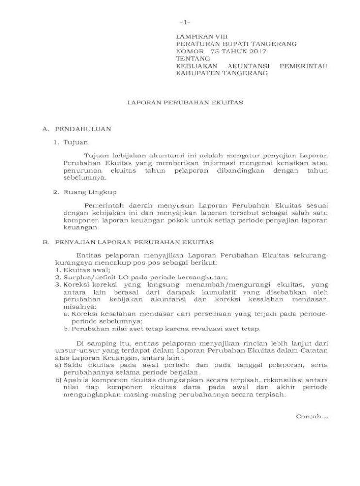 Lampiran Viii Peraturan Bupati Contoh Format Laporan Perubahan Ekuitas Disajikan Pada Lampiran Xvii Pdf Document