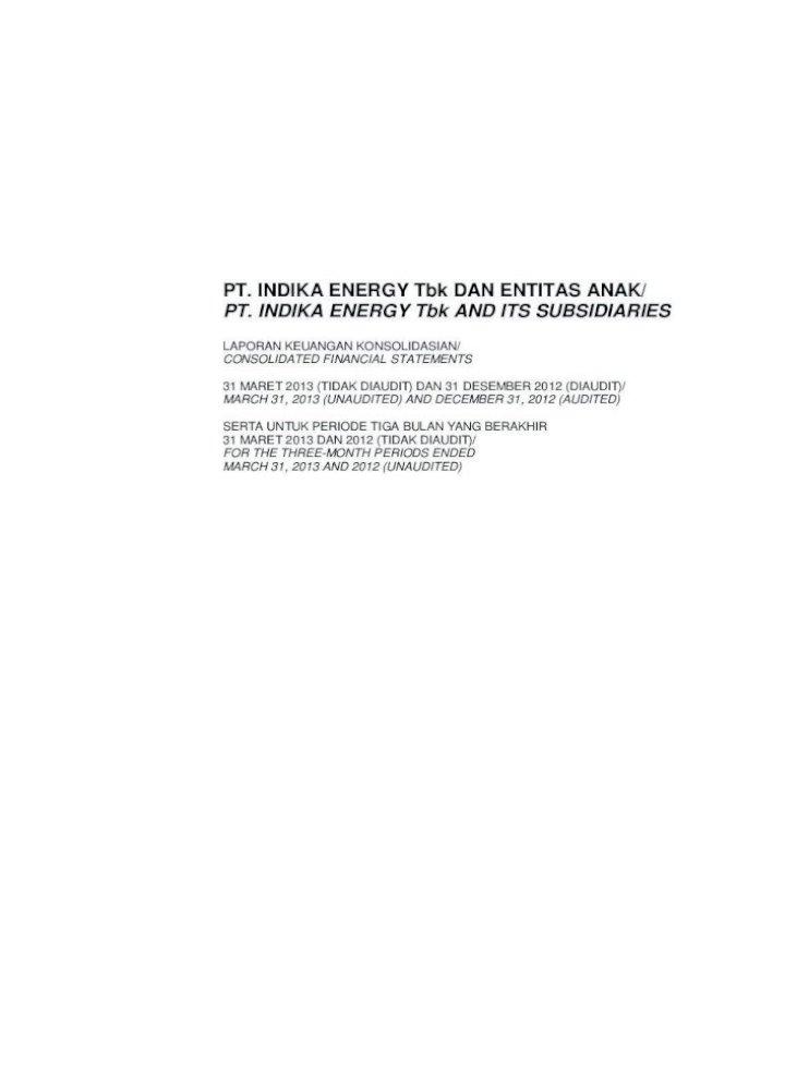 Pt Indika Energy Tbk Dan Entitas Anak Pt Indika On Derivative Opsi Saham Karyawan Keuangan Pdf Document