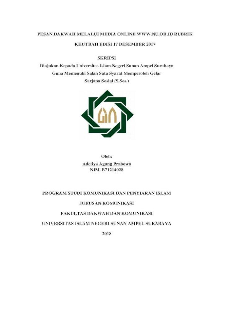 Pesan Dakwah Melalui Media Online Rubrik Khutbah Edisi 17 Desember 2017 Skripsi Program Studi Komunikasi Pdf Document
