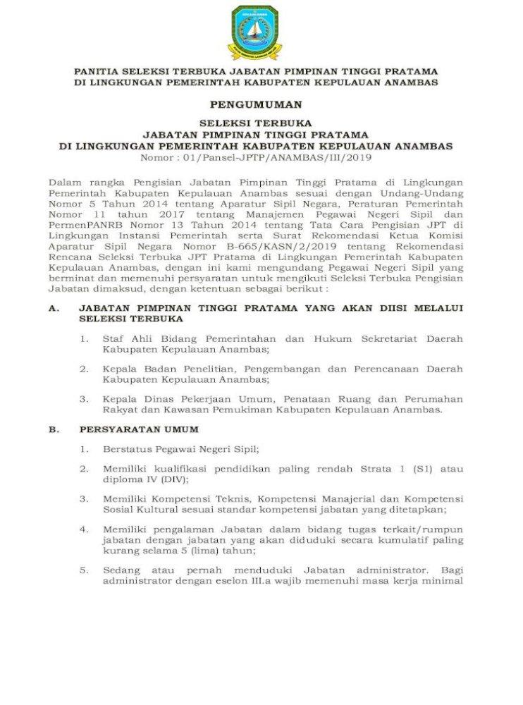 Pemerintah Kabupaten Bintan Surat Lamaran Lampiran I Bermaterai Rp 6 000 5 Seleksi Kompetensi Pdf Document