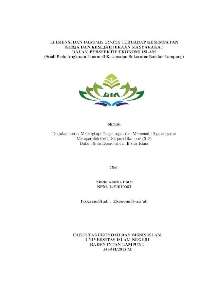 Efisiensi Dan Dampak Go Jek Terhadap Kesempatan Amelia Putri Pdfآ Efisiensi Dan Dampak Go Jek Terhadap Pdf Document