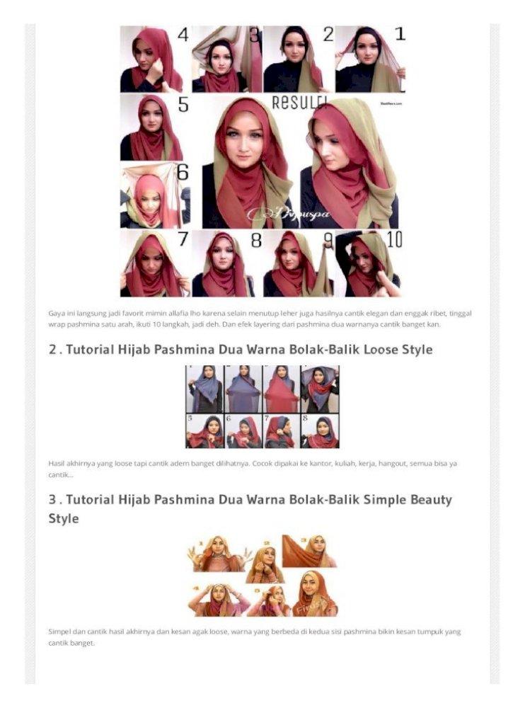 30 Tutorial Hijab Pashmina Paris Dua Warna Dua Kerudung Terbaru 2016 Pdf Document