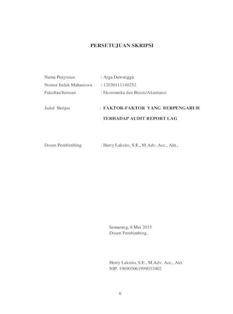 Faktor Faktor Yang Berpengaruh Terhadap Audit Report Lag Pdf Document