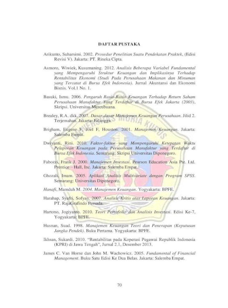 Daftar Pustaka Meidera Elsa Dwi 2012 Pengaruh Profitabilitas