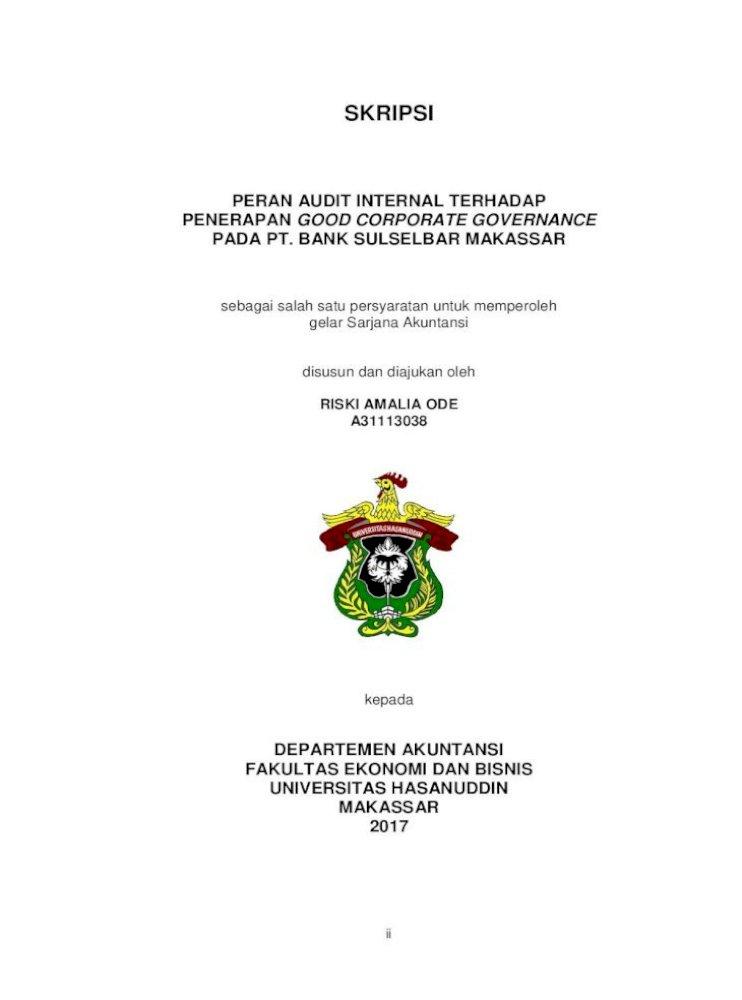 Skripsi Core Ac Uk I Skripsi Peran Audit Internal Terhadap Penerapan Good Corporate Governance Pdf Document