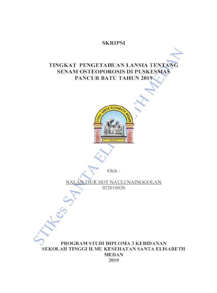 Skripsi Tingkat Pengetahuan Lansia Tentang Senam Berjudul A œtingkat Pengetahuan Lansia Tentang Pdf Document