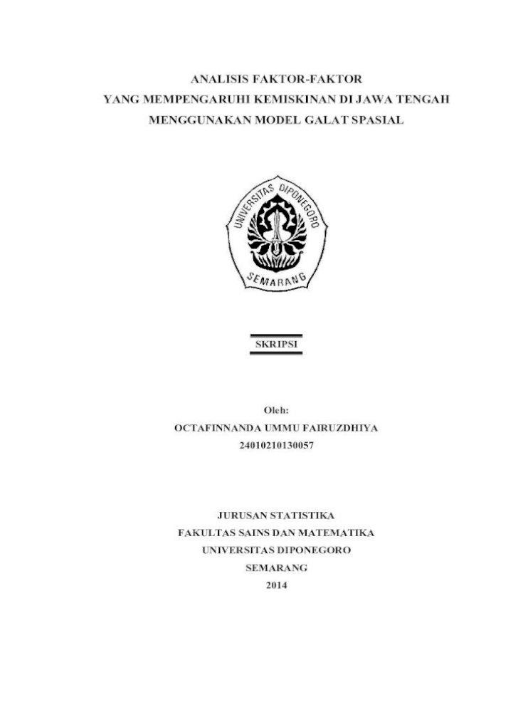 Analisis Faktor Faktor Yang Faktor Faktor Yang Mempengaruhi Kemiskinan Di Jawa Tengah Analisis Faktor Faktor Yang Mempengaruhi Kemiskinan Di Jawa Tingkat Pengangguran Authors Pdf Document