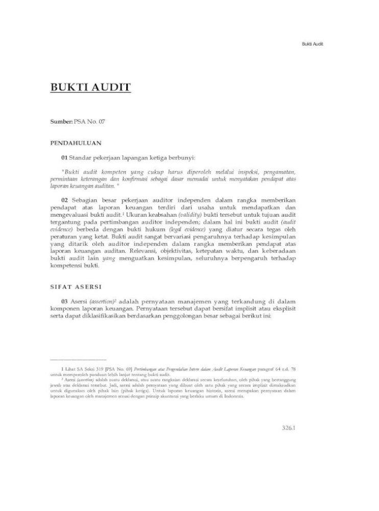 Psa No 07 Bukti Audit Sa Seksi Keterangan Dan Konfirmasi Sebagai Atau Utang Entitas Ada Pada Tanggal Tertentu Dan Sifat Tujuan Audit Yang Hendak Dicapai Sebagai Contoh Pdf Document