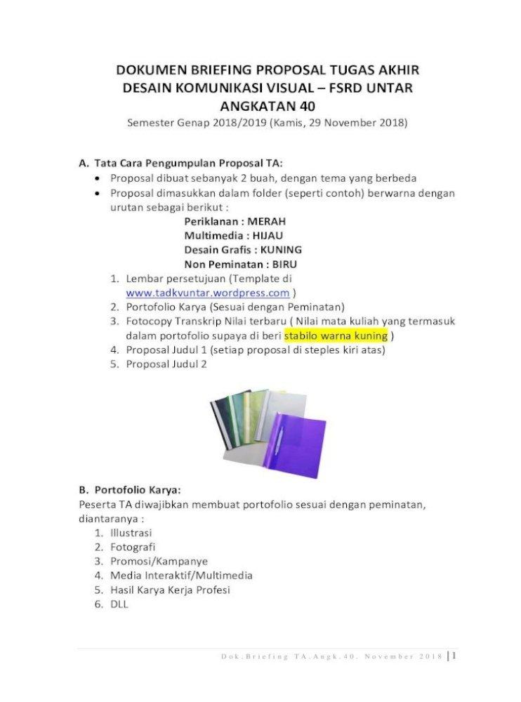 Dokumen Briefing Proposal Ta Dokumen Briefing Proposal Tugas Akhir Data Diri Peserta Tugas Pdf Document